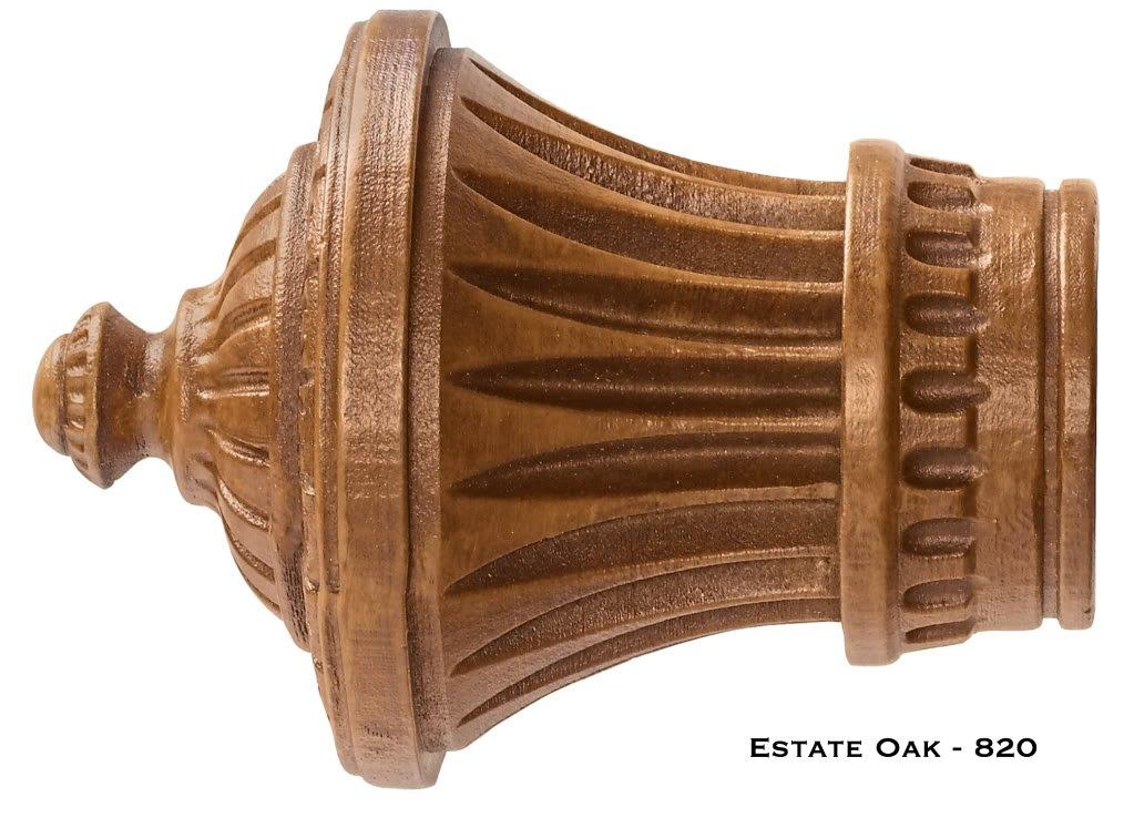 Charleston Finials - Kirsch Wood Trends - 1 3/8'' - Estate Oak