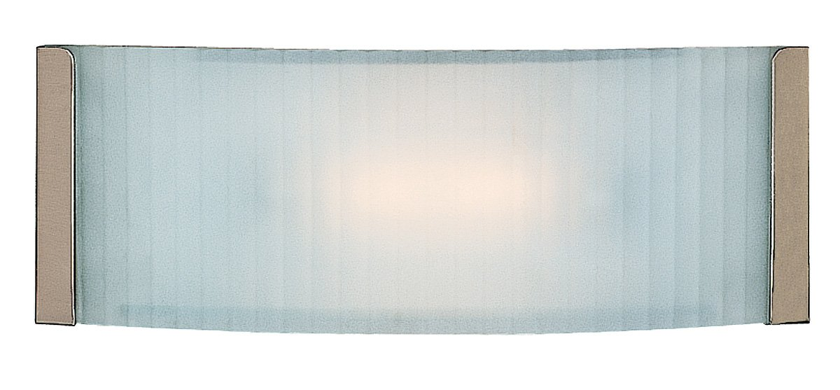 Helium - Vanity - Brushed Steel Finish - Checkered Frosted Glass Shade