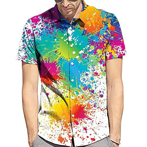 (AKwell Men's Hawaiian Shirt Short Sleeve Shirts Summer Rainbow Printed Short-Sleeved Shirt Fashion Polo Shirt)