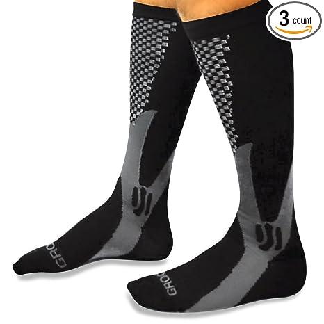 9aa7fba040 Groove Socks 3 Pack Compression Socks for Women 15-20 mmHg Knee High Black (