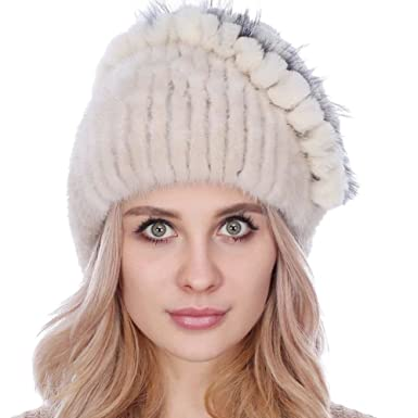 3361ade9a8f59 Queenshiny Women s Knitted Mink Hat with Fox Fur Ball (Beige) at Amazon  Women s Clothing store
