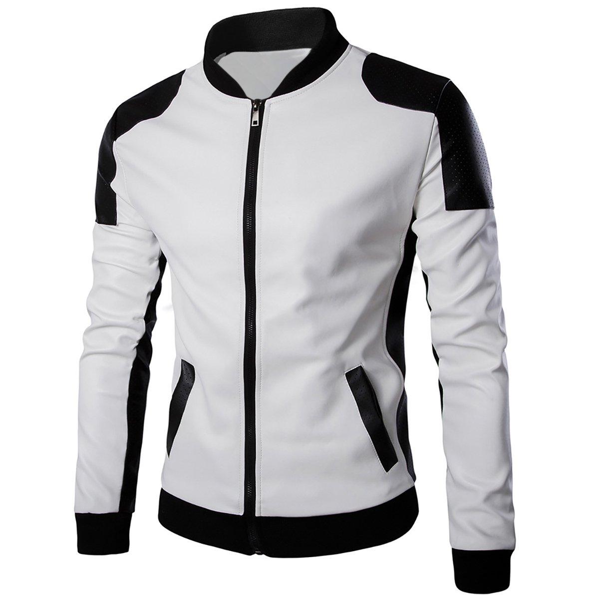 Cloudstyle Men's Latticed Baseball Bomber Jacket Slim Fit Coat,White 1,Small
