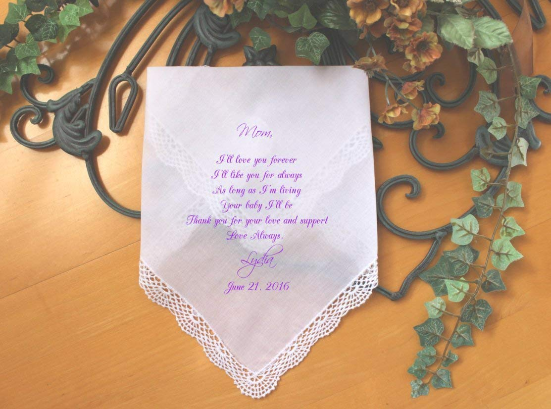 Mom Wedding Gift, Mother of the Bride custom PRINTED wedding handkerchief, I'll love you forever, wedding favor, Personalized. LS5FCAC by Snugahug I' ll love you forever