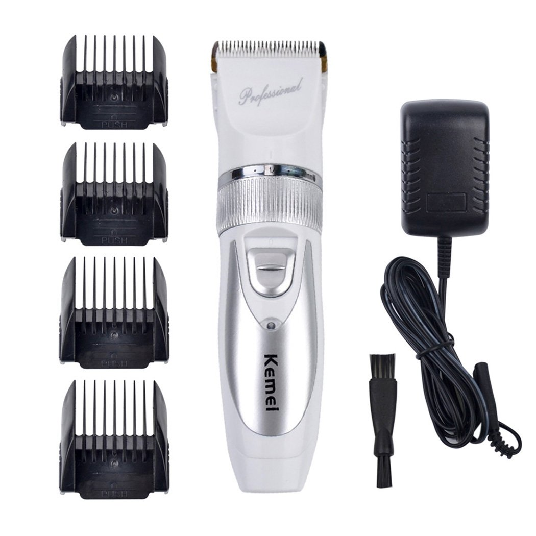 inkint Electric Hair Clipper Cordless Hair Trimmer for Men Baby Hair Cutting Machine Titanium Blade Beard Trimmer Kit + 4 Combs + 2 Batteries (White)