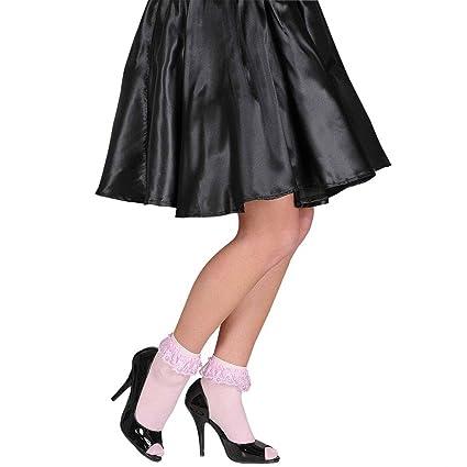 Dulces calcetines rosas con volantes vintage calcetas tobillo Rock&Roll medias años 60 accesorios