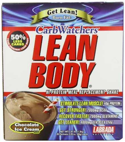 Labrada Nutrition Carb Watchers Lean Body Hi-Protein Meal Replacement Shake, Chocolate Ice Cream, 2.29-Ounce Packets by Labrada
