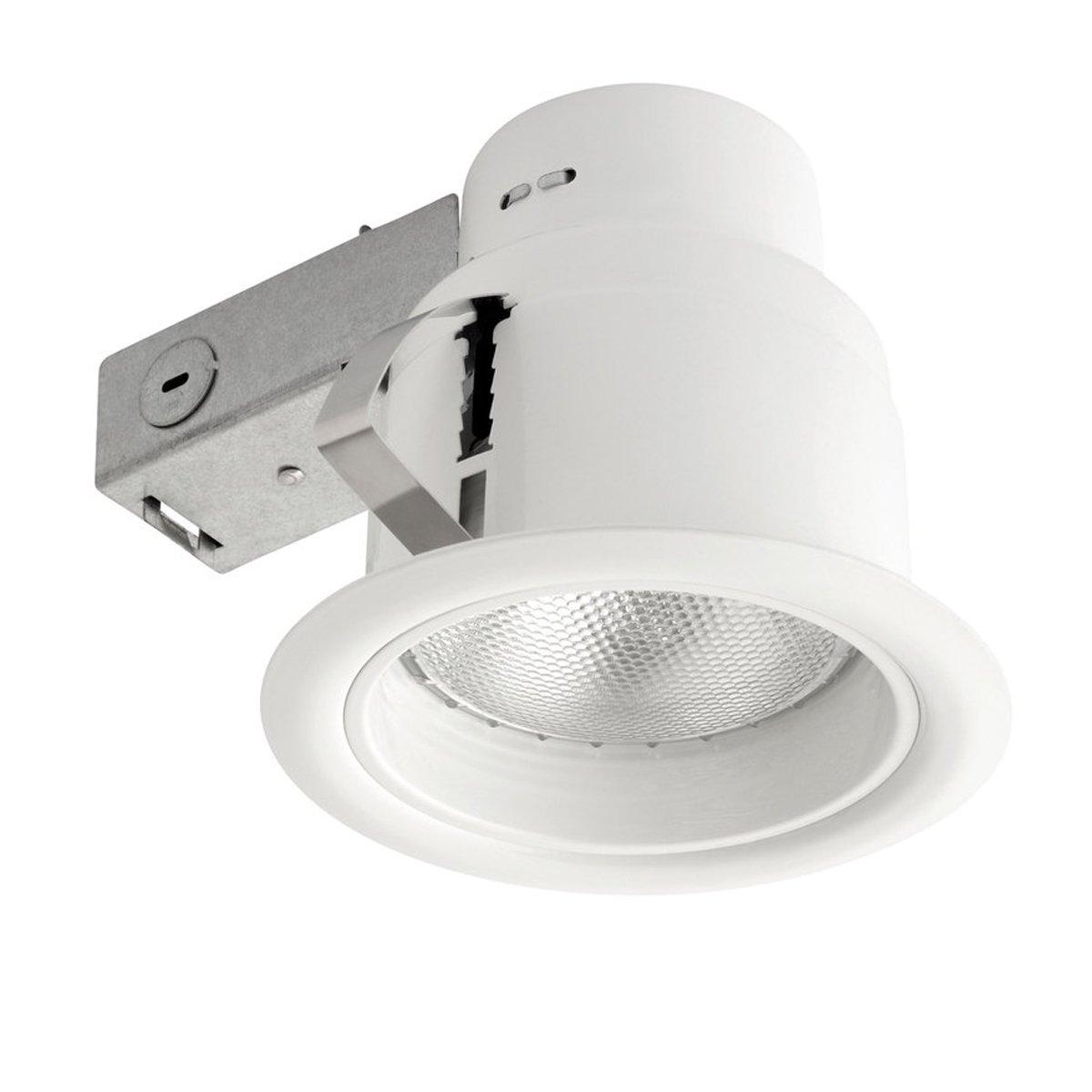 Globe Electric 9251201 5 inch Recessed Lighting Kit, White Finish with White Baffle, Flood Light