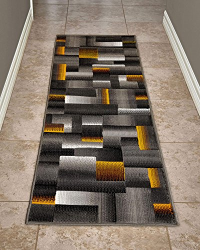 (Cosy House Contemporary Runner Rugs for Indoors Hallway, Kitchen, Bathroom | Persian Living Room Home Decor | Resists Stains, Soil, Fading & Freying | Power Loomed in Turkey 2' X 7', Yellow)