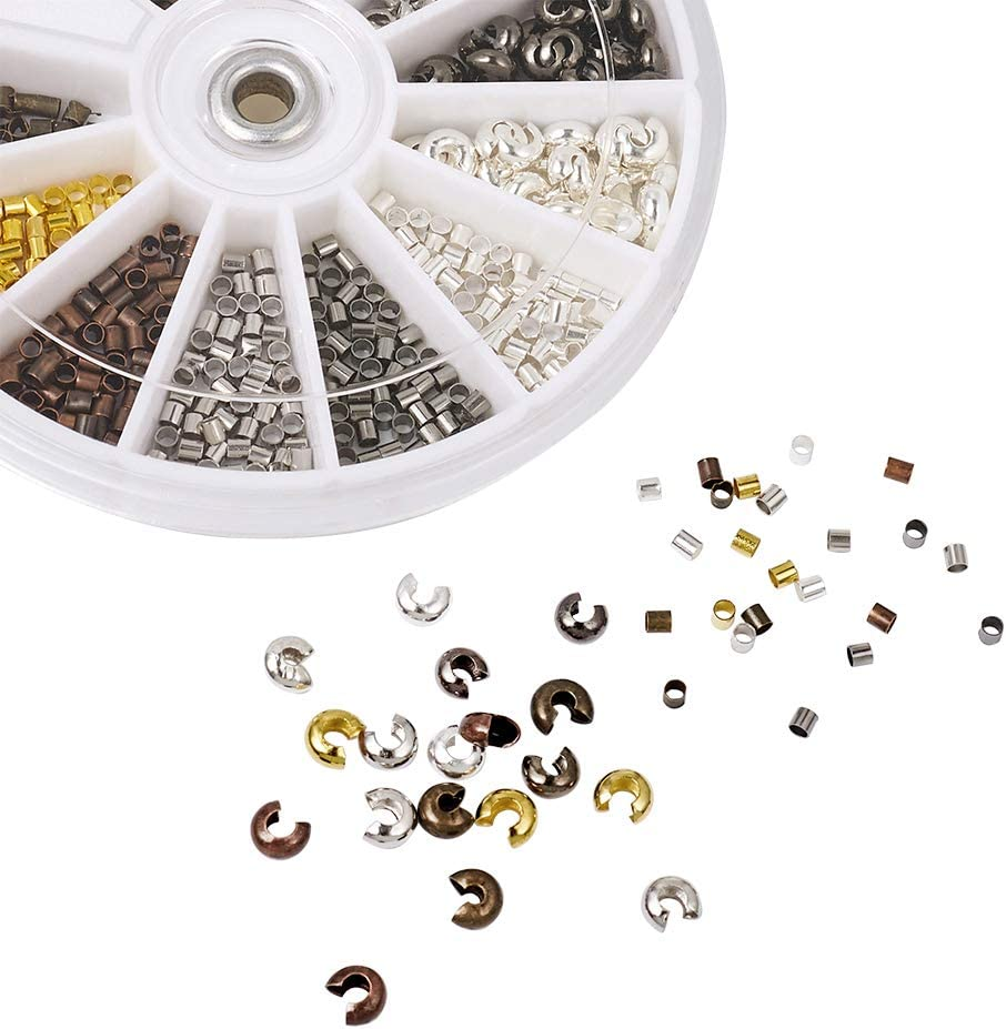Pandahall 6 Colors 4x3mm Brass Open Crimp Beads Covers Knot Covers Beads End Tips for Jewelry Makings About 250pcs// Box