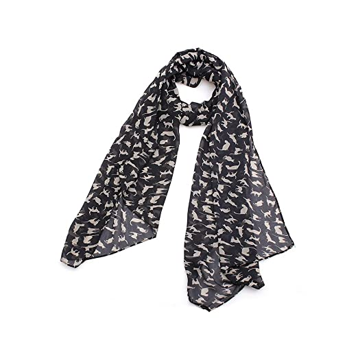 614e16bec Graffiti Cat Kitten Print Scarf Wraps Chiffon Silk Scarves Black Color Warm Wrap  Shawl Women (