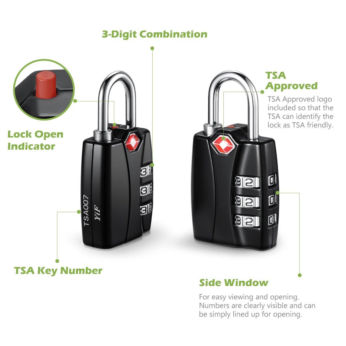 KeeKit Combination Locks, TSA Approved Luggage Locks with Open Alert Indicator, TSA Luggage Locks for Travel, Suitcase, Baggage & Backpack, Gym Locker (Black, 2 Pack) by KeeKit (Image #3)