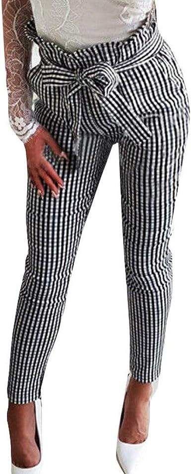 Pantalones A Cuadros Elegantes Para Pantalones Ropa Mujer Ocio Festiva Elasticos De Estiramiento Largo Pantalones Elasticos Pantalones De Tela Elastica Con Lazo Slim Fit Amazon Es Ropa Y Accesorios