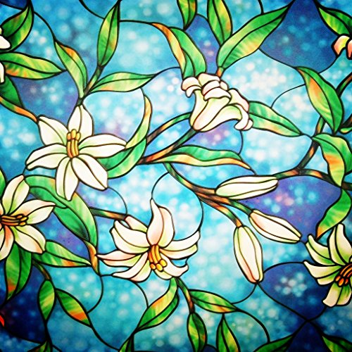 bofeifs Decorative Privacy Window Film Frosted Window Film Stained Glass Window Film Window Clings No-glue Self Static Cling for Home Bedroom Bathroom Kitchen Office 17.7 by 78.7 - Glasses Www.sun