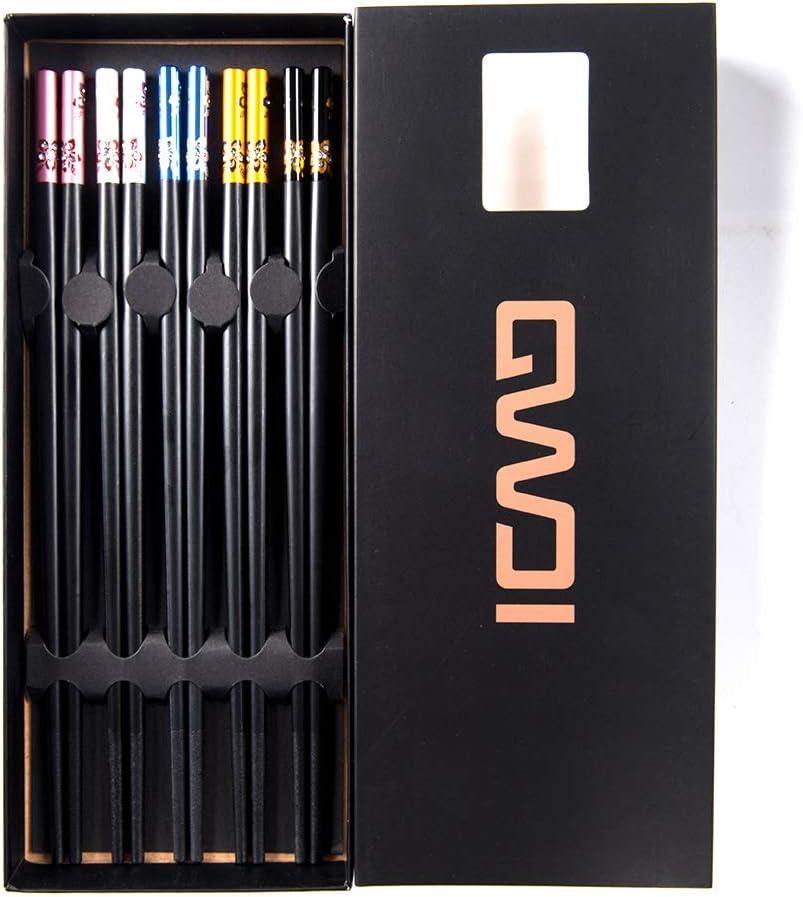 Non-Slip Reusable ZingLife Fiberglass Dishwasher Safe Metal Chopsticks 5 Pairs Gift case Set Alloy Chopsticks
