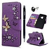 S9 Case, Galaxy S9 Wallet Case, YOKIRIN Luxury 3D Handmade Crystal Rhinestone Case Embossed Double Bling Butterfly PU Leather with Wrist Strap Stand Credit Card ID Holders & Stylus Dust Plug, Purple