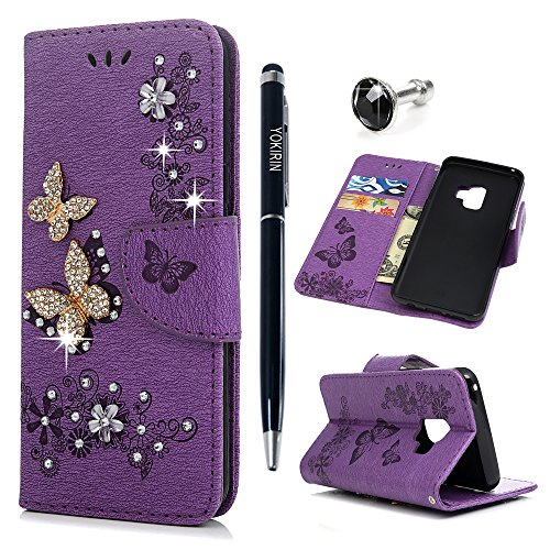 S9 Case, Galaxy S9 Wallet Case, YOKIRIN Luxury 3D Handmade Crystal Rhinestone Case Embossed Double Bling Butterfly PU Leather with Wrist Strap Stand Credit Card ID Holders & Stylus Dust Plug, Purple by YOKIRIN (Image #9)