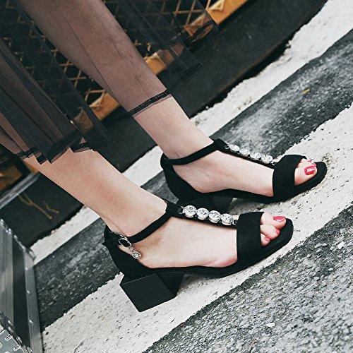 Carolbar Mujeres T-strap Hebilla Rhinestones Casual Comfort Sandalias Negro