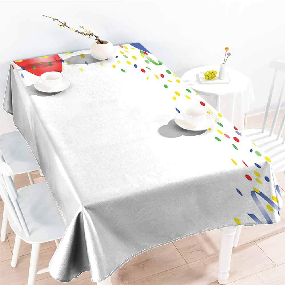 Onefzc Anti-Fading Tablecloths,Kids Party Childrens Birthday Concept with Balloons and Confetti Happy Surprise Cheerful,Fashions Rectangular,W60x84L Multicolor