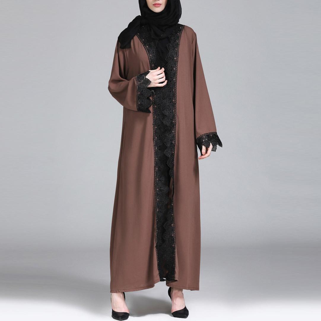 1c51250704 Moonuy Musulmane Femmes Kimono Islamique Dentelle Épissage Long Manteau  Robe Mesdames à Rétro manches longues dentelle