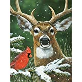 Bits and Pieces - 500 Piece Jigsaw Puzzle for Adults - Deer with Cardinal - 500 pc Winter Animals Jigsaw by Artist William Vanderdasson