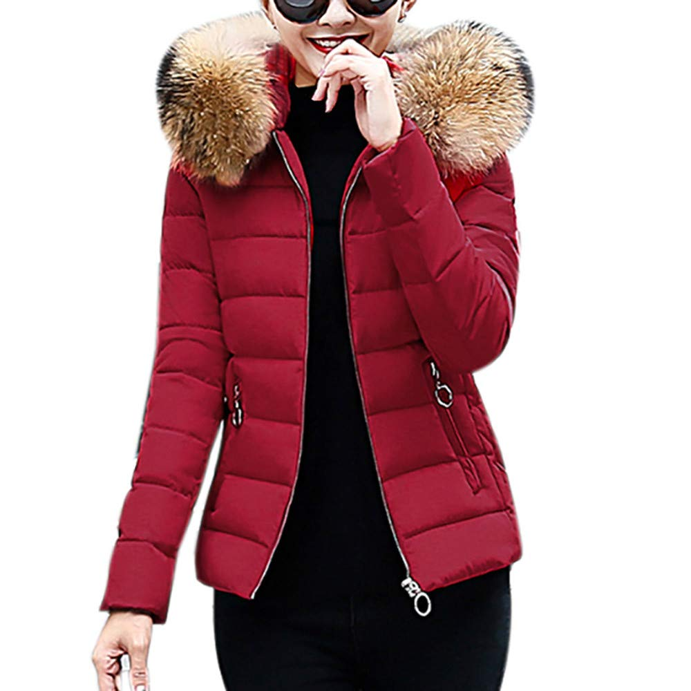 Liraly Womens Coats and Jackets Ladies Winter Warm Faux Fur Hooded Short Slim Cotton-Padded Jacket Coat Wine