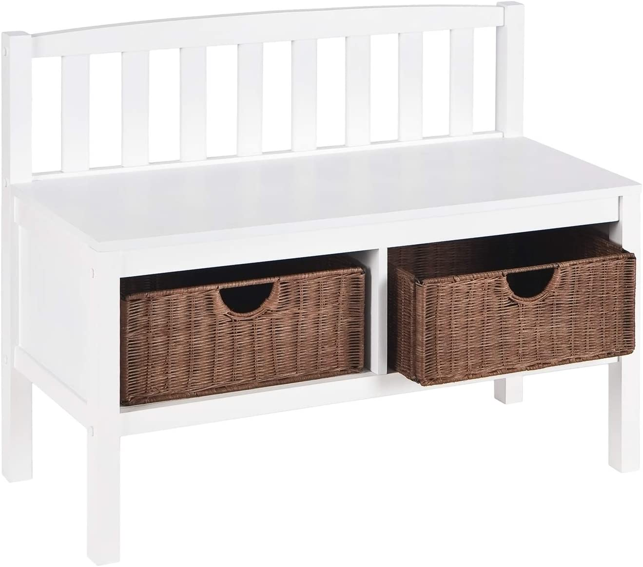 "Home Decorators Collection Lakewood Bench with Storage Baskets, 28.5"" Hx36 W, White"
