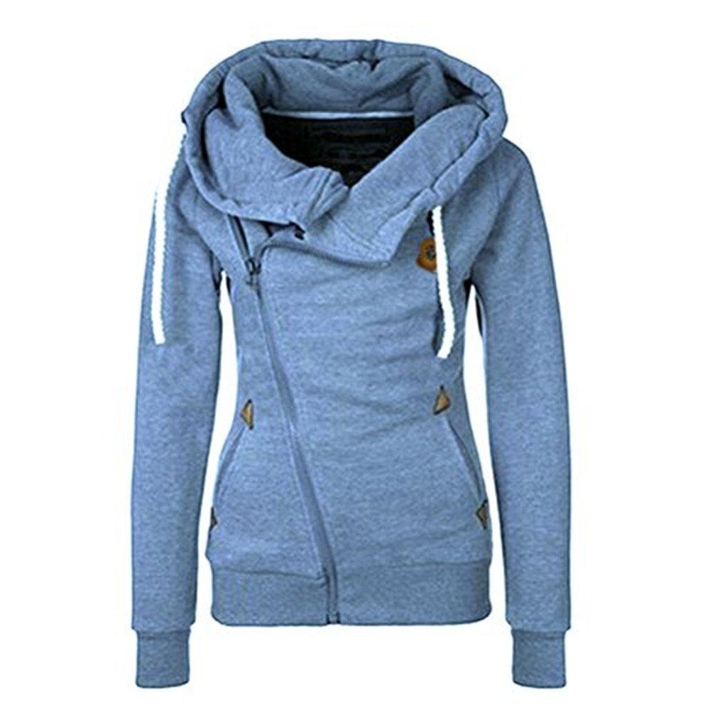 DAYSOFT Women Full Slide Zip Up Fleece Hoodie, Fashion Sweater/Sweatshirt Jacket (Blue, XL)