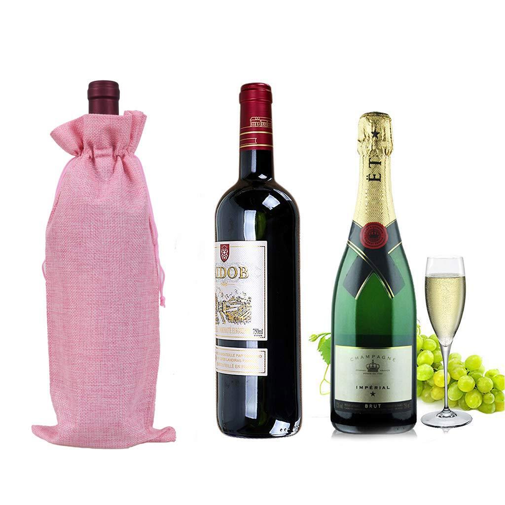 Amazon.com: Bolsas de vino de arpillera con cordón, bolsas ...