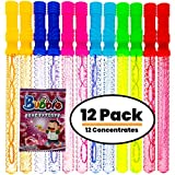 Bubble Wands for Kids Party - Birthday Party Favors, Party 12 Pack 14'' Big Bubble Wands ++FREE Extra 12 Solution Concentrates, Big Bubbles for Kids Activity Toy Wand, Perfect Summer Favor Bubble Toys