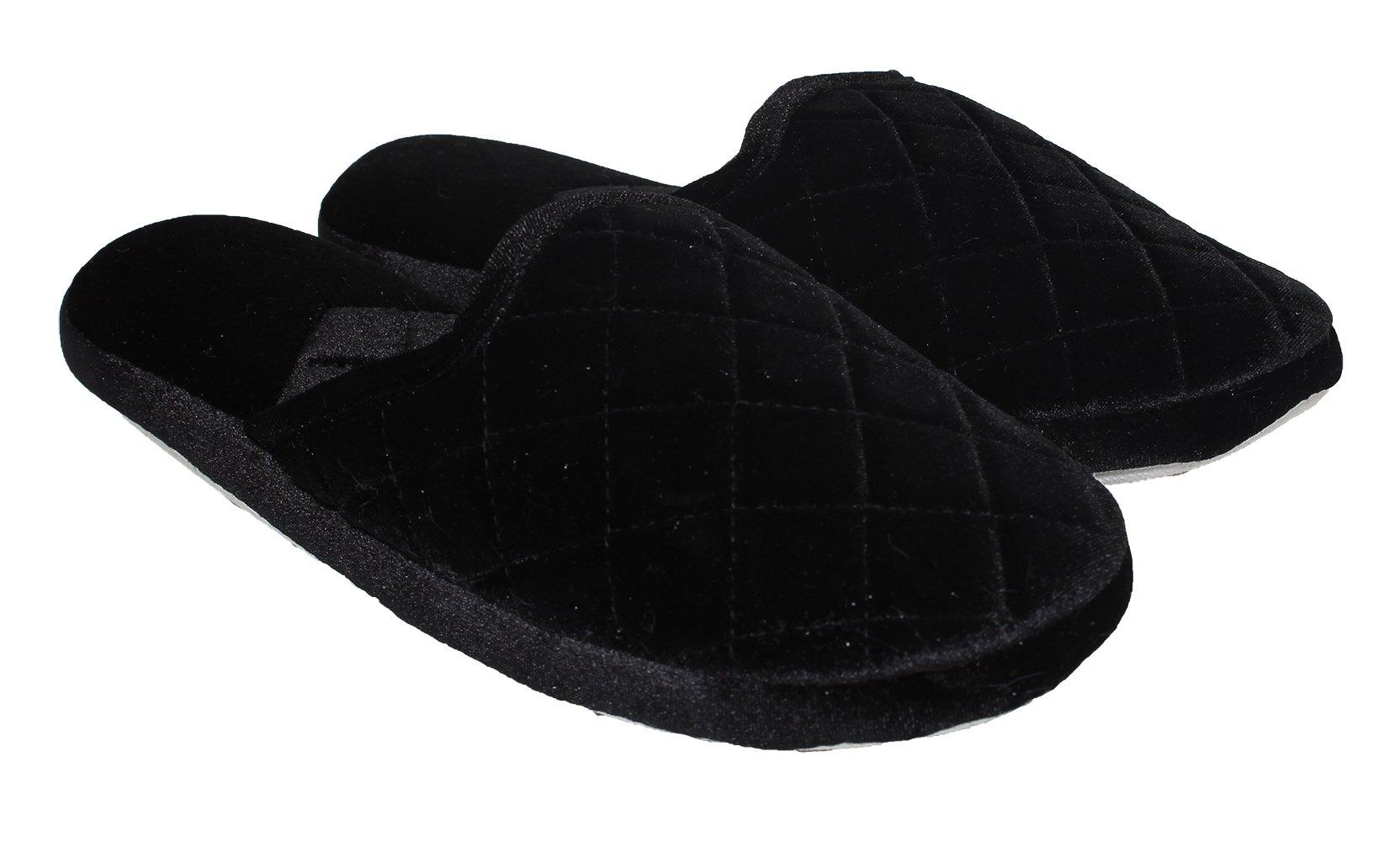 Blue Star Women's Comfort Memory Foam Velvet House Slippers Slip-Resistant Rubber Sole  Indoor/Outdoor