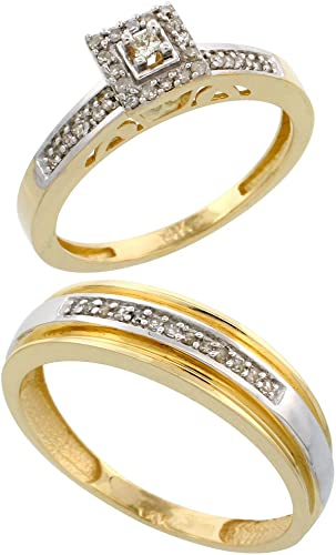 Amazon Com 10k Yellow Gold 2 Piece Diamond Wedding Engagement Ring Set For Him And Her 2 5mm 6mm Wide Sizes 5 13 Jewelry