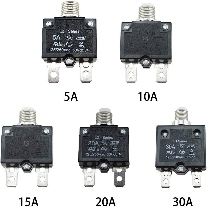 yodaliy 5A//10A//15A//20A//30AMP Miniature Circuit Breaker 5A 0.03inch In-Line Manual Reset Circuit Breaker Panel Mount Air Switch Resettable Thermal with Waterproof Button transparent Cover
