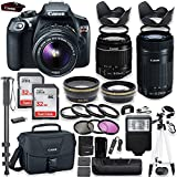 Canon EOS Rebel T6 DSLR Camera with Canon 18-55mm IS II Lens & 55-250mm IS STM Lens Kit + Battery Grip + Canon Case + 64GB Memory + Filters + Macros + Monopod + 50 Tripod + Professional DSLR Bundle