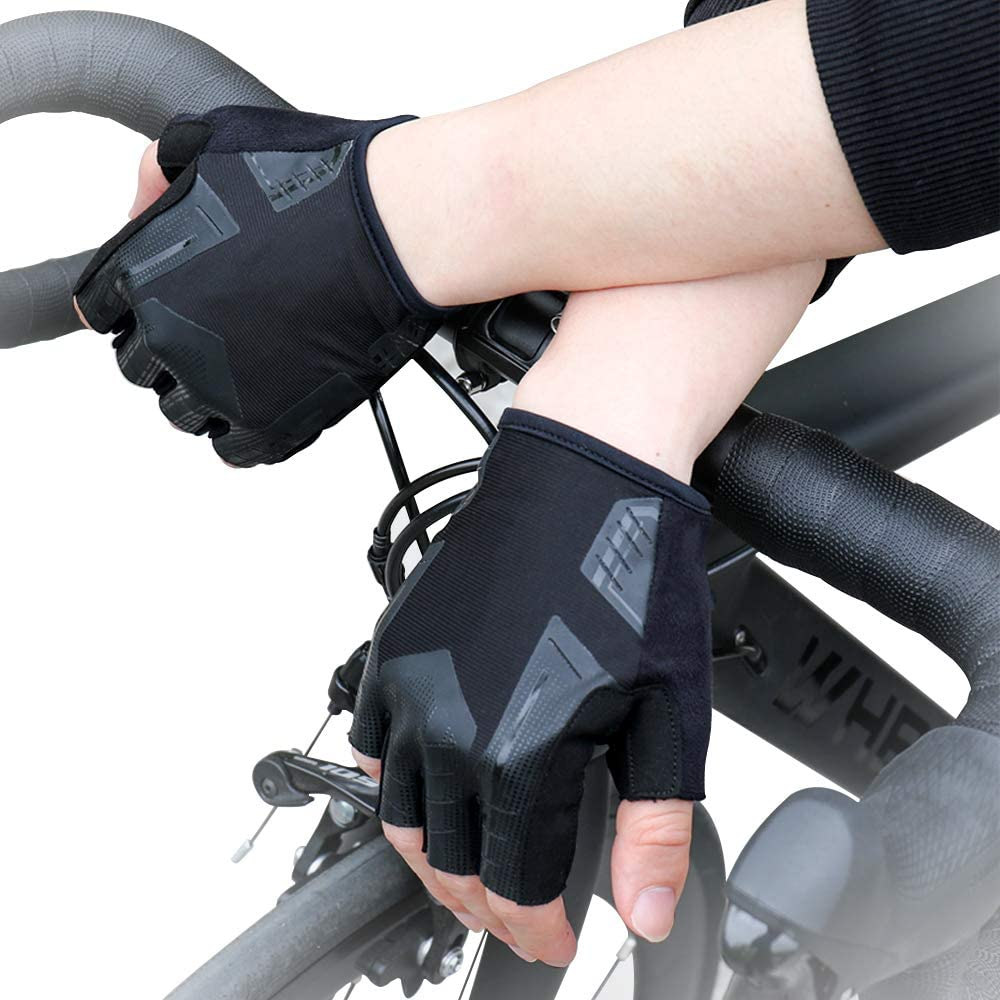 Cycling Gloves for Men /& Women Bicycle Riding Gloves Half Finger Biking Hand Glove with Anti-Slip Shock-Absorbing Foam Pad Breathable Wear-Resistant Fiber Light Weight with OPP Bag