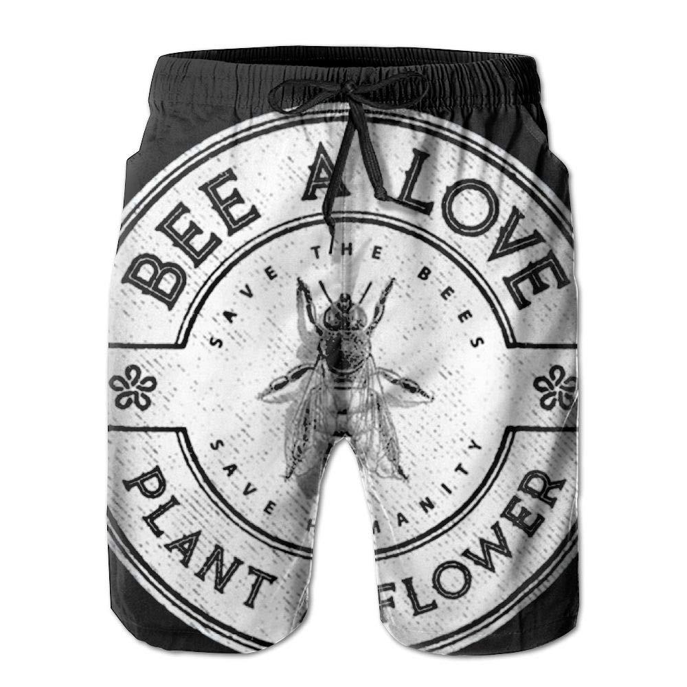 Bee A Love Plant A Flower Environmentalist Mens Beach Shorts Swim Trunks Quick Dry Beachwear Swimwear Bathing Suits