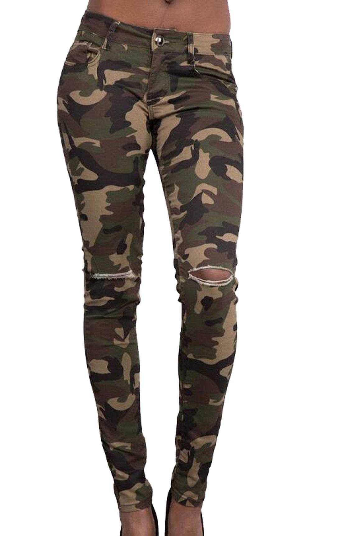 ARTFFEL Womens High Waist Skinny Leg Knee Holes Pencil Pants Field camouflage XL