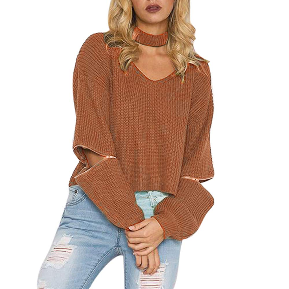Winter Knit Pullover Sweater Women Faux Fur Coat V-Neck Halter Long Sleeve Sweater Top Outwear (US:8, Coffee)