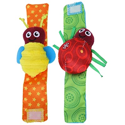 2PCS Infant Rattles Insect Design Sound Wristbands Early Educational Development Soft Toys for Boys Girls : Baby
