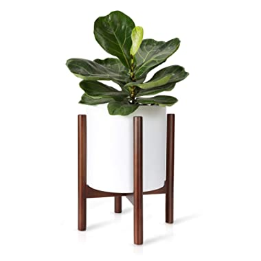 Mkono Plant Stand Mid Century Wood Flower Pot Holder Indoor Potted Rack Modern Home Decor, Up to 10 Inch Planter (Plant and Pot NOT Included), Dark Brown