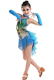 0ee562974281e BOZEVON Girls Children Kids Sequin Fringe Performance Ballroom Costume Salsa  Tango Tassel Latin Dance Dress