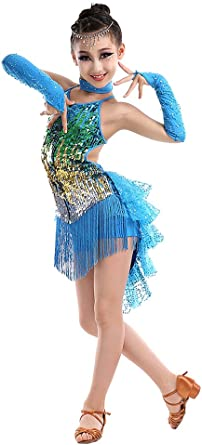 Girls Kids Latin Fringe Dance Dress Ballroom Costume Salsa Tango Tassel Dress