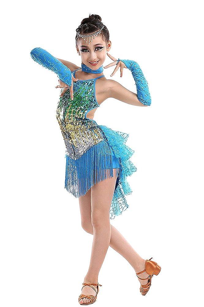 Amazon.com: KINDOYO Latina Tango Salón De Baile Salsa borla Lentejuelas Vestido Niñas: Clothing