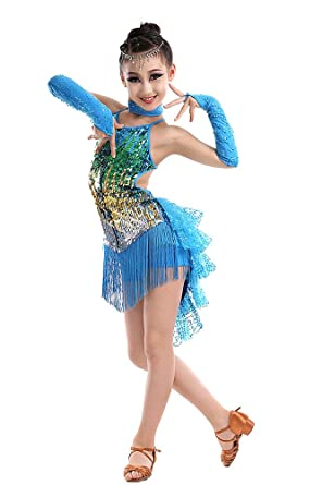 KINDOYO Latina Tango Salón De Baile Salsa borla Lentejuelas Vestido Niñas