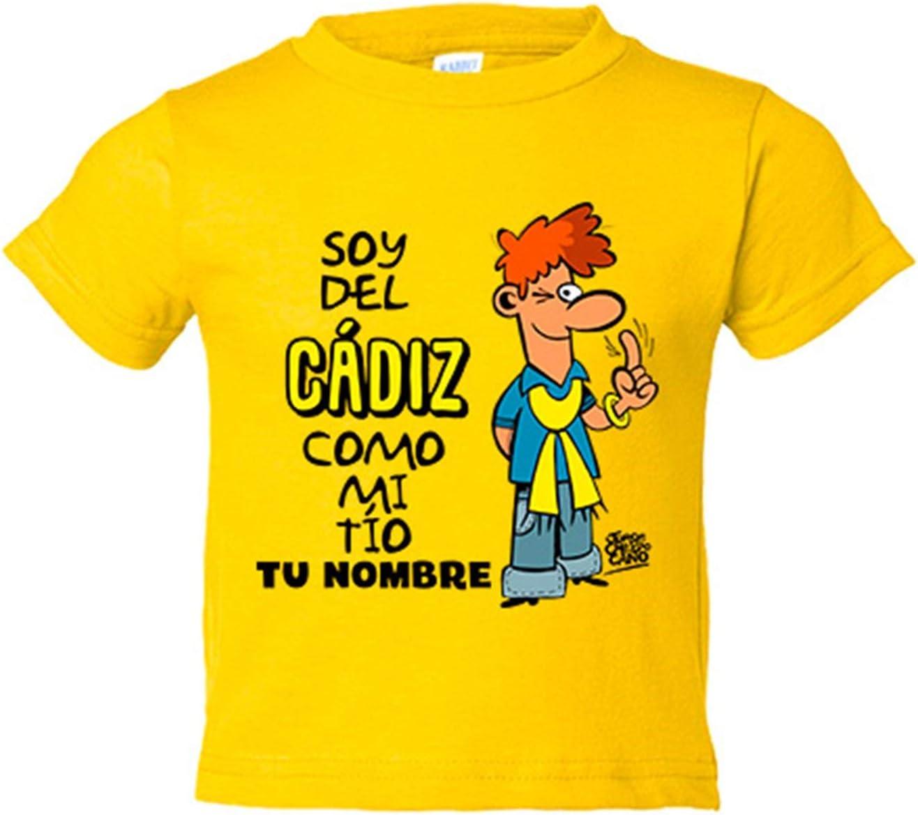 Camiseta niño soy del Cádiz como mi tio personalizable con nombre - Amarillo, 3-4 años: Amazon.es: Bebé