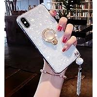 Lozeguyc - Funda para iPhone XS Max de lujo, con soporte para anillos, suave silicona TPU a prueba de golpes, carcasa de cuerpo completo con pedrería de estrás y soporte giratorio de 360 grados para iPhone XS Max, Blanco, iPhone XR[6.1 Inch]