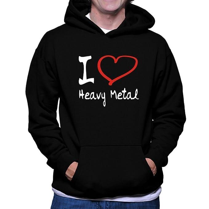 Teeburon I LOVE Heavy Metal Sudadera con capucha: Amazon.es: Ropa y accesorios
