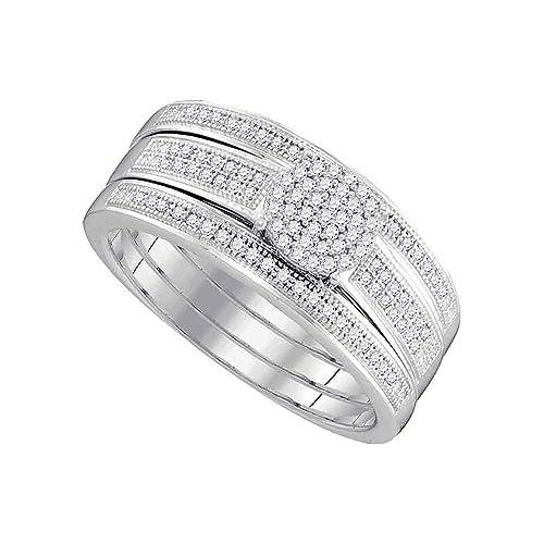 Juego de anillos de compromiso y bandas de boda de oro blanco de 10 quilates para