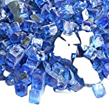 Image of Onlyfire Reflective Fire Glass for Natural or Propane Fire Pit, Fireplace, or Gas Log Sets, 10-Pound, 1/2-inch, Cobalt Blue