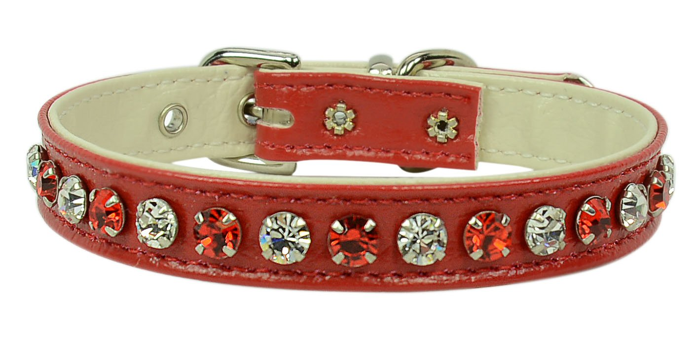Evans Collars 1 2  Collar with Alternating Jewel colors, Size 12, Vinyl, Red