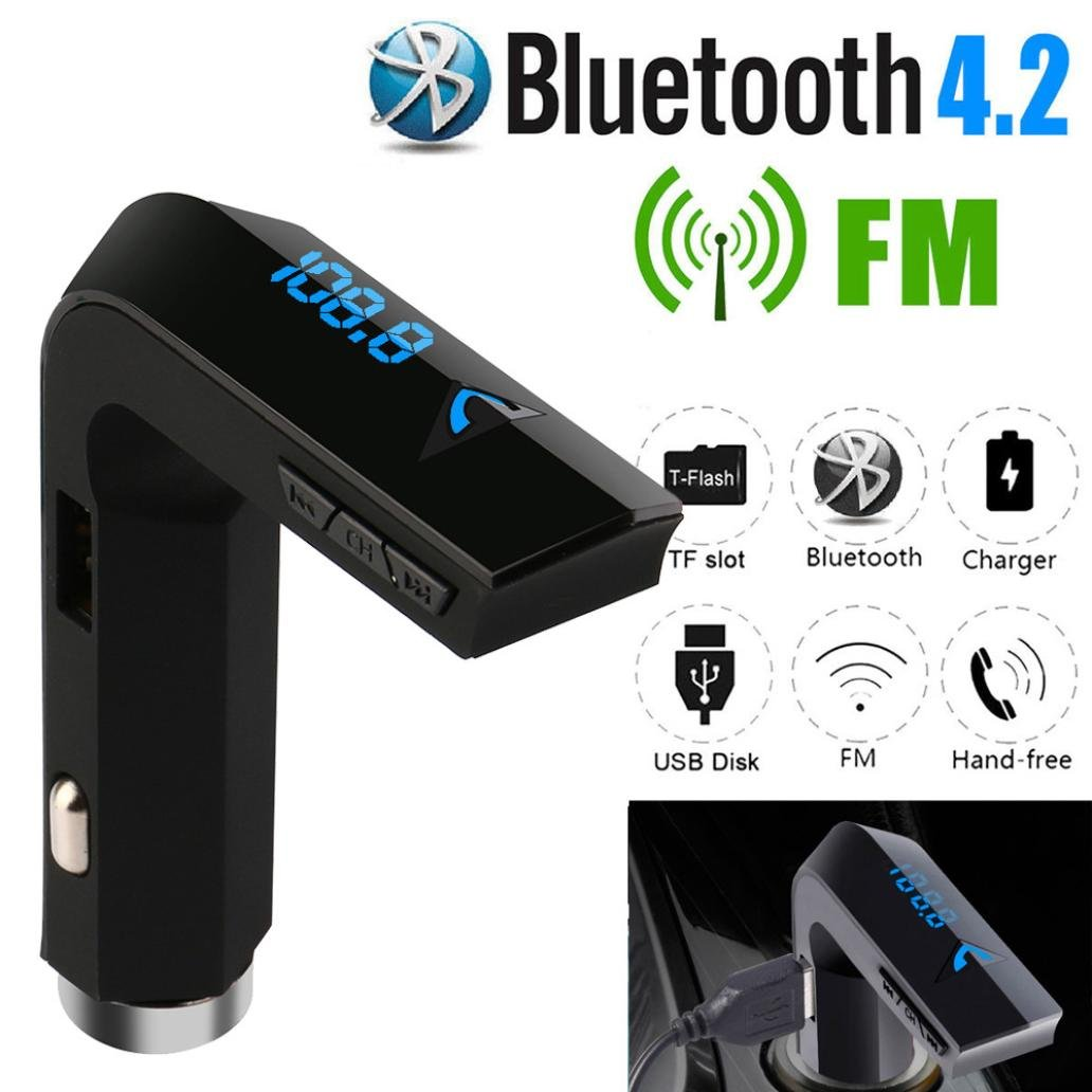 Creazy Bluetooth 4.2 FM Transmitter Wireless MP3 TF Radio Adapter USB Charger Car Kit lovely